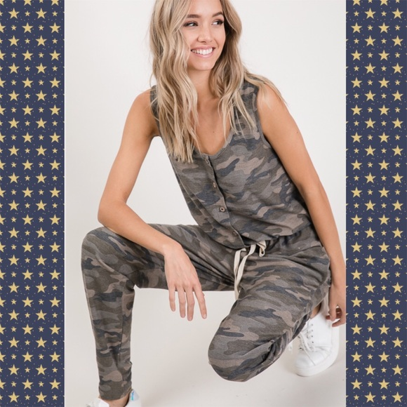7th Ray Pants - Camo Button Up Jumpsuit